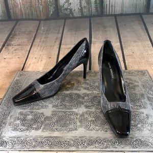 Sesto Meucci Gray & Black Patent Leather & Shiny Fabric Heels Size 7.5